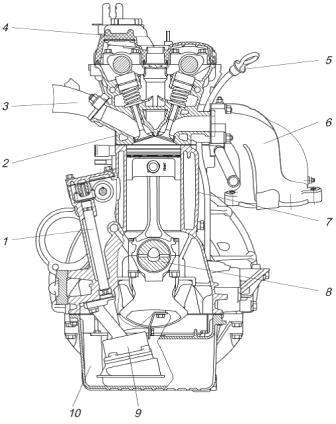 Поперечный разрез двигателя ЗМЗ-405