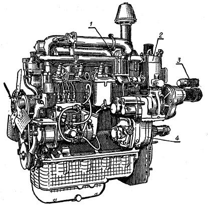 Двигатель МТЗ 80 вид слева